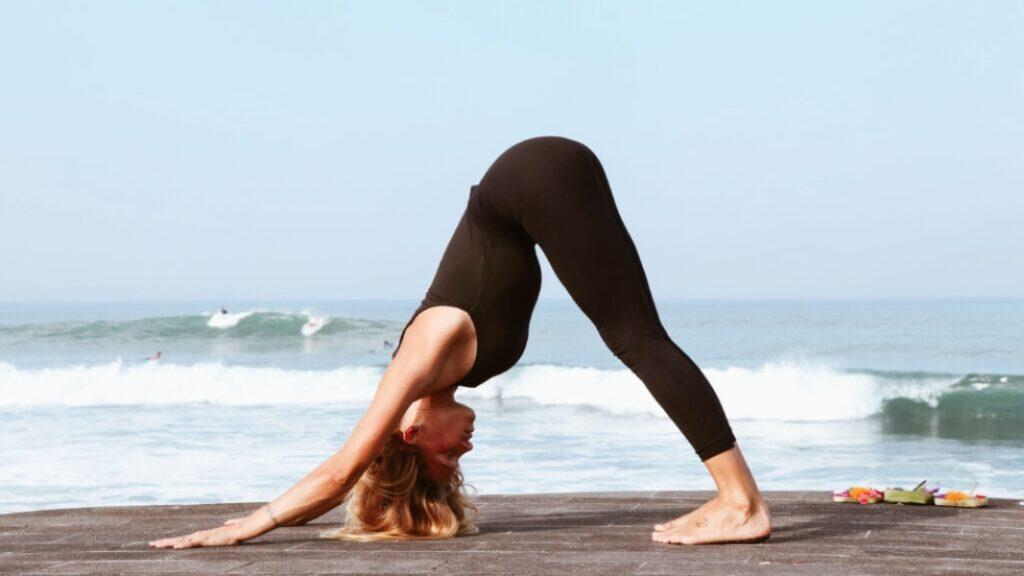 postura del perro en yoga combinado con surya namaskar (significado saludo al sol)